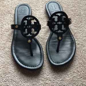 Tory Burch black leather Miller sandals